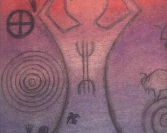 Buffalo Spirit Gateway Petroglyph Portait - Throat Chakra - by Azurae Windwalker, Shamanic Healer Artist