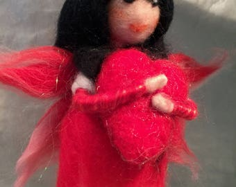 Waldorf fairy, needle felted fairy, wool fairy, Waldorf art, fairy art, doll art, felte doll, felted angel, felted love, love fairy, fairy
