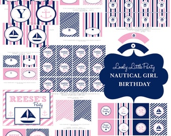 Personalized Printable Nautical Girl Birthday Package - LOVELY LITTLE PARTY