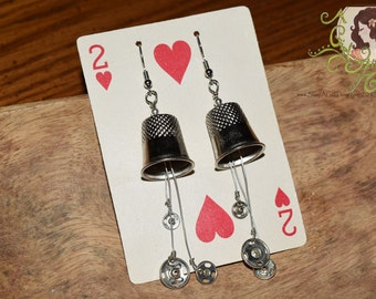 Thimbles and Snaps EARRINGS ~ Made From Found Treasures