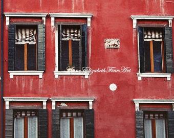 Italy Photography,Venice in Red,Venice Art,Italian Decor, Romantic,Shutters,Windows,Architecture,Travel,Rustic, Red ,Aged,Italian Kitchen