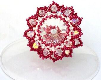 Swarovski Beads Ring / Swarovski Ring / Colorful Ring /  Beaded Ring / Adjustable Ring / Peyote Ring