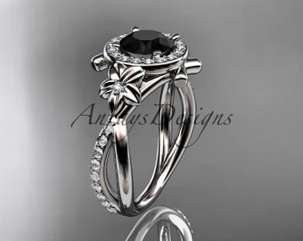 Platinum diamond leaf and vine wedding ring, engagement ring with a Black Diamond center stone ADLR89