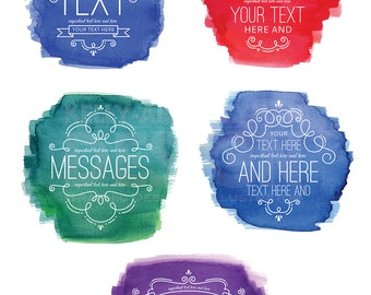 Watercolor Digital Labels Clipart, Swirl Labels clip art set, flourish, Commercial Use, Digital Download Art, Vector Graphics