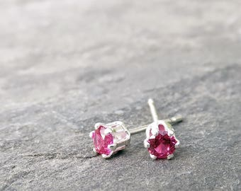 Tiny Lab Ruby Studs in Silver or 14k Yellow Gold, 3mm Ruby Earrings, July Birthstone Earrings, Faceted Ruby Rounds, Bright Fuchsia Rubies