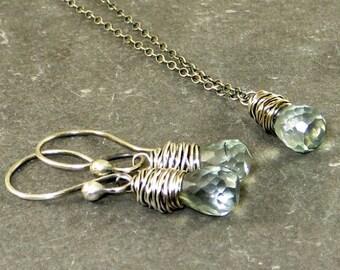 Blue Mystic Quartz Jewelry Set,Blue Quartz Earrings, Blue Quartz Necklace, Wire Wrapped Jewelry, Eco Friendly
