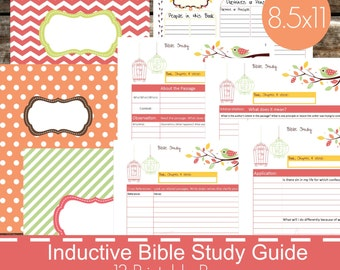 Inductive Bible Study Guide Printables PDF, Christian bible study, bible journal, devotional guide, bible study planner - Bird Theme