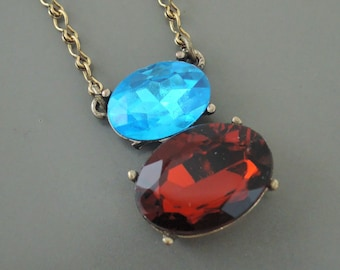 Vintage Necklace - Bright Blue Necklace - Ruby Red Necklace - Brass Necklace - Rhinestone Necklace - Colorful Necklace - handmade jewelry