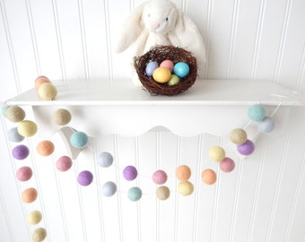 Spring Garland, Easter Garland, Pastel Garland, Easter Decor, Felt Ball Garland, Nursery Decor, Baby Shower, Baby Garland, Photo Prop Pastel
