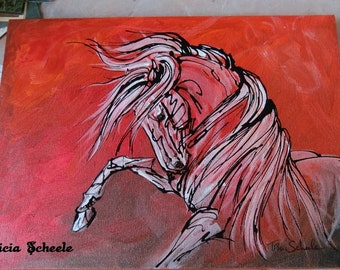Fire Dance andalusian minimalist red black white horse circus equine caballo uma