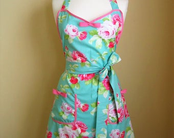 Apron/ Retro Apron / Vintage Style Apron / Womens Apron / Floral Apron / Green Apron / Pink and Green Apron / 1950s Style Apron /Roses Apron