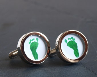 Footprint or Handprint Cufflinks New Father Gift Fathers Day made from your Children's Prints, Custom Made
