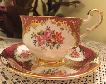 Rare Vintage Paragon Teacup Saucer Bone China Red Blue White Pink Green Yellow Gold Footed Teacup England