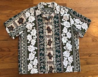 Men's XL Vintage Hawaiian Aloha Shirt Tiki Oasis Hukilau Green Brown Turtles & Hibiscus Flowers Barkcloth 80s 90s does 1960s Mint Condition