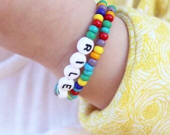 Kids Bracelet Personalized, Rainbow Bracelet, Name Bracelet, Rainbow Baby Gift, Newborn Bracelet, Toddler Bracelet, Rainbow Pride Bracelet