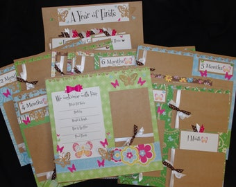 Butterfly Baby Girl 14~12x12 Premade Scrapbook Layouts Months 1~12 Journal Cards