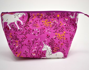 Unicorn Makeup Pouch, Zipper Bag, Gifts for Her, Open Wide Zipper Pouch, Cosmetic Bag, Teacher Gift