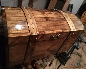 Walnut Stained Curved Top HANDMADE Treasure chest