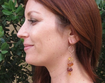Hessonite Garnet, Citrine,14K Rose Gold Filled Wire Wrapped Handmade Earrings