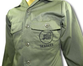 Vintage US NAVY Seabees OG-507 Green 2-Pocket Military Utility Shirt 14 1/2 x 31