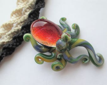 Octopus- Amazing Dichroic Glass Octopus Pendant on Handmade Hemp Necklace in Your Choice of Color- Red Octopus Pendant- OOAK Octopus Pendant