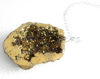 Quartz Drusy Geode Necklace, Metallic Gold Pendant, Crystal Druzy Jewelry