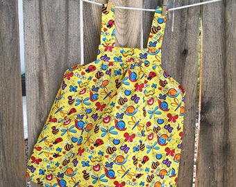Child No Tie Smock Apron - Yellow Bug Pinafore - Toddler Apron Size 2-4