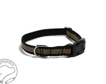 """Chevron Zigzag - Thin Dog Collar - 1/2"""" (13mm) Wide - Small Martingale or Quick Release Buckle - Choice of collar style and size"""