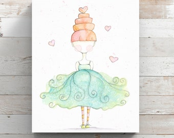 Love to Dance Canvas Print from original watercolor painting - Watercolor Whimsical Art - Wrapped Canvas Print