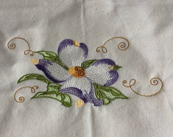 New Kitchen tea towel DOGWOOD BLOSSOM embroidery