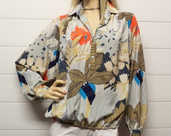 Vintage 70's DaRue for Bullocks  Wilshire Fabulous blouse  Size Medium--Large