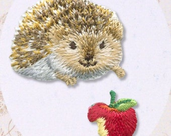 Hedgehog, Embroidered Iron On Patch, Japanese Iron on Applique, Kawaii Hedgehog & Apple Motif, Cute Animal Embroidery Applique, W316