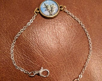 Mixed metal charm bracelet, tree tops, brass, silver, gold, costume