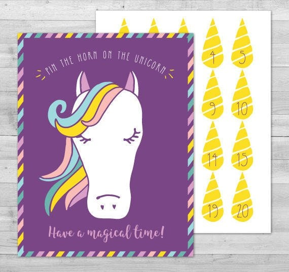 Crafty image in pin the horn on the unicorn printable