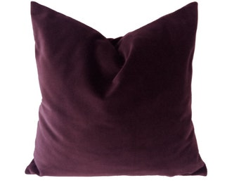 Aubergine Wine Cotton Velvet Pillow Cover - Decorative Accent Throw Pillows -Invisible Zipper Closure -Knife Or Piping Edge -16x16 to 26x26