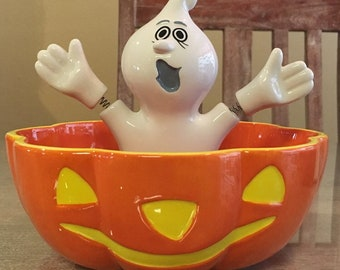 Dept Department 56 Halloween candy dish bobble ghost vintage
