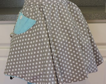 SALE Aqua and Gray Polka Dot Reversible Apron with Pocket