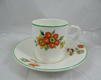 Colorful 1940s Vintage Portland Pottery Cobridge English Bone China Demitasse Cappuccino Teacup and Saucer - English teacup