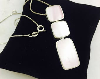 Vintage Southwestern Style Sterling Silver Pink Mother of Pearl Hinge Stacked Pendant Necklace - 11.9 Grams