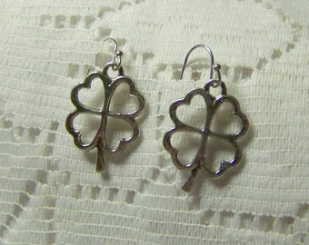 Four Leaf Clover earrings - Lucky Shamrock - open filigree shamrock - Irish Jewelry - Good Luck Jewelry - St Patrick's Day Earrings