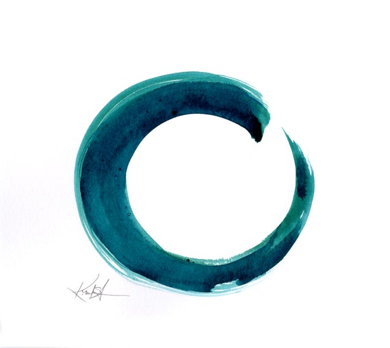 Enso Painting Abstract Zen Circle Art Teal Aquablue Color
