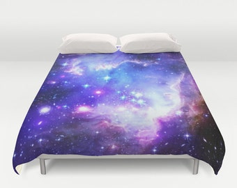 Galaxy Duvet Cover or Comforter| Blue & Purple Bedding| Nebula Duvet| Space Print|Galaxy Print| Blue Bedroom| Dorm| Twin Full Queen King