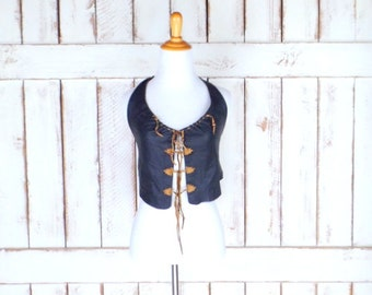 Vintage black leather open back cropped halter top/tribal/boho/hippie/festival leather handmade tank top/xsmall/small