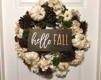 Hello Fall Sign | Hello Fall Wreath Sign | Wreath Sign | Front Door Sign | Fall Sign |