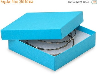 TAX SEASON Stock up 100 Pack Matte Finish 100 Percent Recycled Tropical Blue 3.5 X 3.5 X 1 Inch  Size Cotton Filled Jewelry Presentation Gif