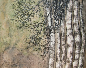 The Trees Will Clap Their Hands, 13x19 Fine Art Print, Birch Tree Giclee, Encaustic Print