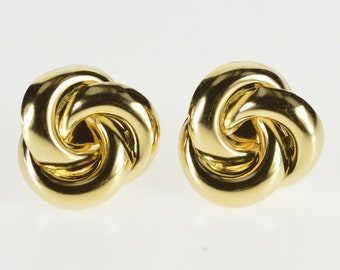 14K High Relief Interlocking Circles Twist Design Earrings Yellow Gold