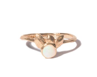 14k Opal Shimmering Shell Ring | 14k Yellow Gold, 14k Rose Gold, 14k White Gold | Australian Opal Ring