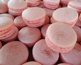 12 Pink champagne color Madagascar Bourbon vanilla Macarons gold sparkles on them-gluten free cookies,baby girl, baby shower macaroons