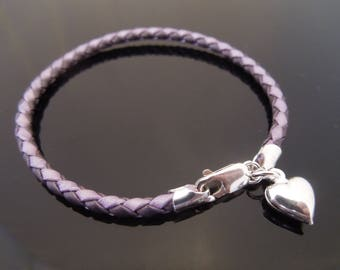 3mm Two Tone Purple Braided Leather Bracelet With 925 Sterling Silver Puffed (Hollow) Heart Charm